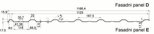 Trapezna kritina - profil TD18 tehnični prerez