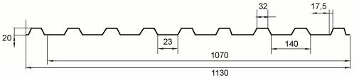 Trapezna kritina - profil TD20 tehnični prerez