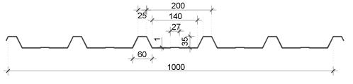 Trapezna kritina - profil T35 tehnični prerez