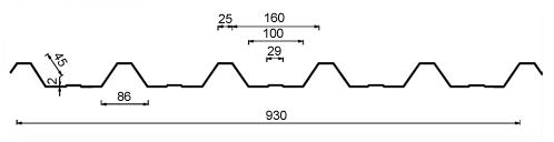 Trapez - profil T45 tehnični prerez