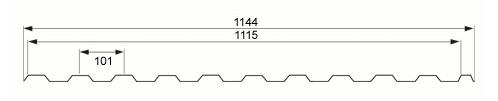 Trapezna kritina - profil TD14 tehnični prerez