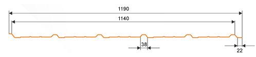 Trapezna kritina - profil TD15 tehnični prerez